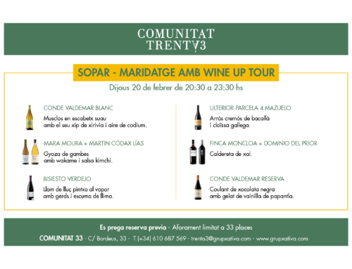 Cena maridaje con Wine Up Tour